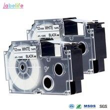 Labelife 2 шт. XR12WE Совместимость с CASIO XR-12WE черный на белом 12 мм * 8 м этикетка лента для KL-60 KL-60SR производителей этикеток