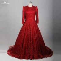 RSE783 Kırmızı Glitter Shine Pullu Uzun Kollu Müslüman Abiye