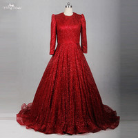 RSE783 Red Glitter Shine Sequin Long Sleeve Muslim Evening Dress