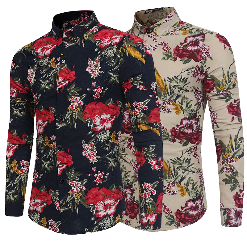 Flower Print Cotton Mens Dress Shirts Long Sleeve Shirts Turn Down Collar Casual Slim Fit Luxury Tops Male Plus Siz 3XL Clothes