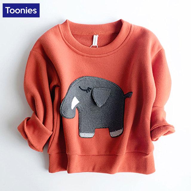 Nuevo Invierno de la Cachemira Niños Elefante de la Historieta Sudaderas Niños Sudadera Con Capucha Caliente Ropa Sudadera Gruesa camiseta con Manga Larga Ropa de Bebé