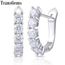 Transgems 14k 585 Weiß Gold 1CTW 3MM F Farbe Moissanite Hoop Ohrringe für Frauen Geschenk U Förmigen Huggie moissanite Earrrings