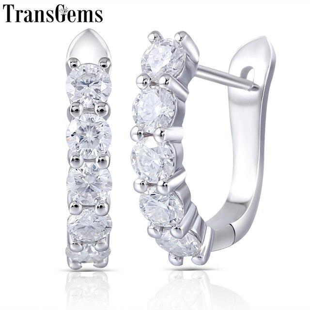Transgems 14k 585 White Gold 1CTW 3MM F Color Moissanite Hoop Earrings for Women Gift U Shaped Huggie Moissanite Earrrings