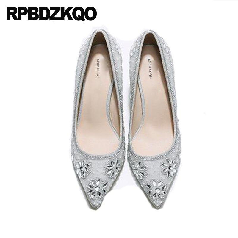 Silver Rhinestone Heels Diamond 8cm Ankle Strap Pointed Toe Women Cinderella Crystal Pumps Wedding High Shoes Size 33 Scarpin цена