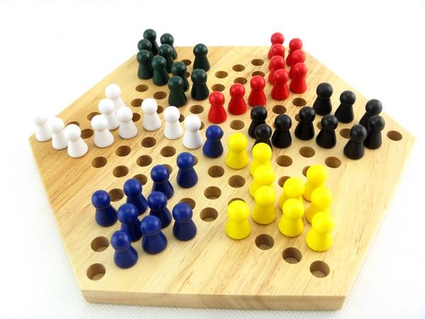 Gratis verzending Kinderen Houten Hexagon Dammen Chinese Dammen Game, Kids Classic intelligentie Educatief Supplies hout speelgoed