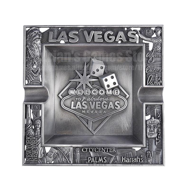 Metal Ashtray Poker Table Las Vegas Nevada Casino Accessory Texas Hold'em Poker Club Embossing Ash Tray