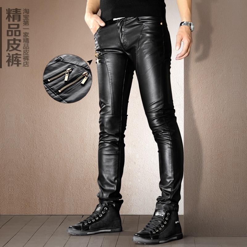 zwarte leren skinny broek