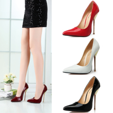 Women's shoes Fashion sexy pointed toe metal steel high-heeled shoes 14 40 – 49 plus size wide