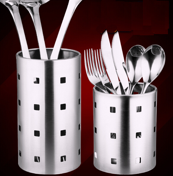 Thick Stainless Steel Circular Hole Tableware Cage Chopsticks Tube Storage,  Brush Holder,kitchen Caddy,Utensil Holder In Toothpick Holders From Home ...
