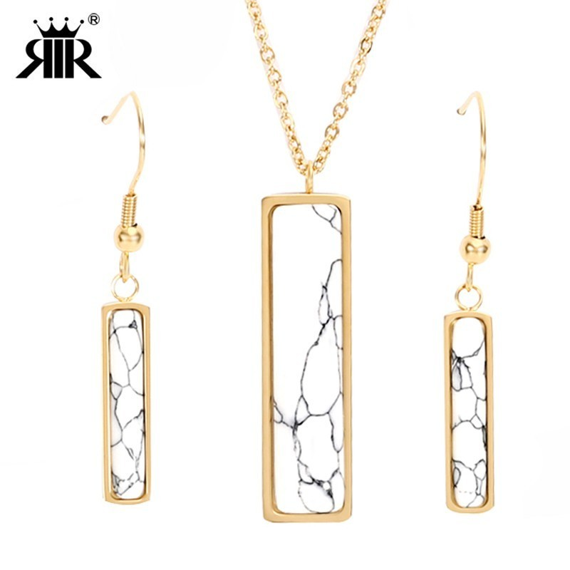 RIR Fashion Square Jewelry Set Necklace Pendant Stainless Steel Geometric White Marble Faux Stone Pendants Necklaces For Women
