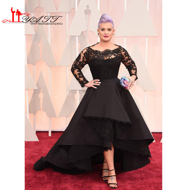 Vintage Plus Size Black Evening Dresses Oscar Hi Lo Long Sleeve Prom ...