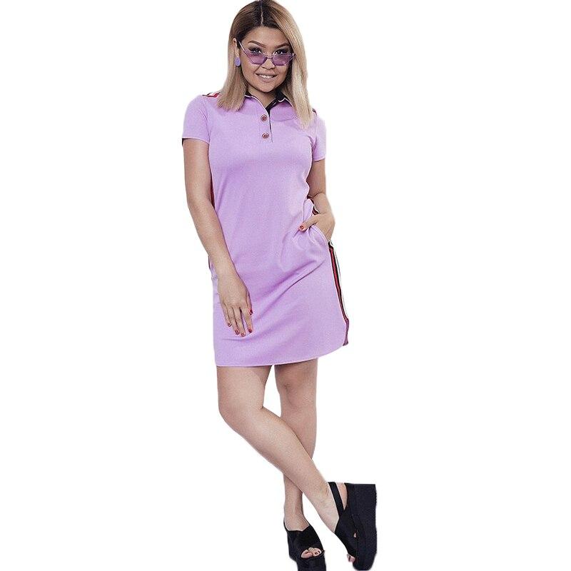 060da49c3ceb 2019 nueva moda mujer vestido de gran tamaño Polo Vestidos casuales corto  recto manga más tamaño ...