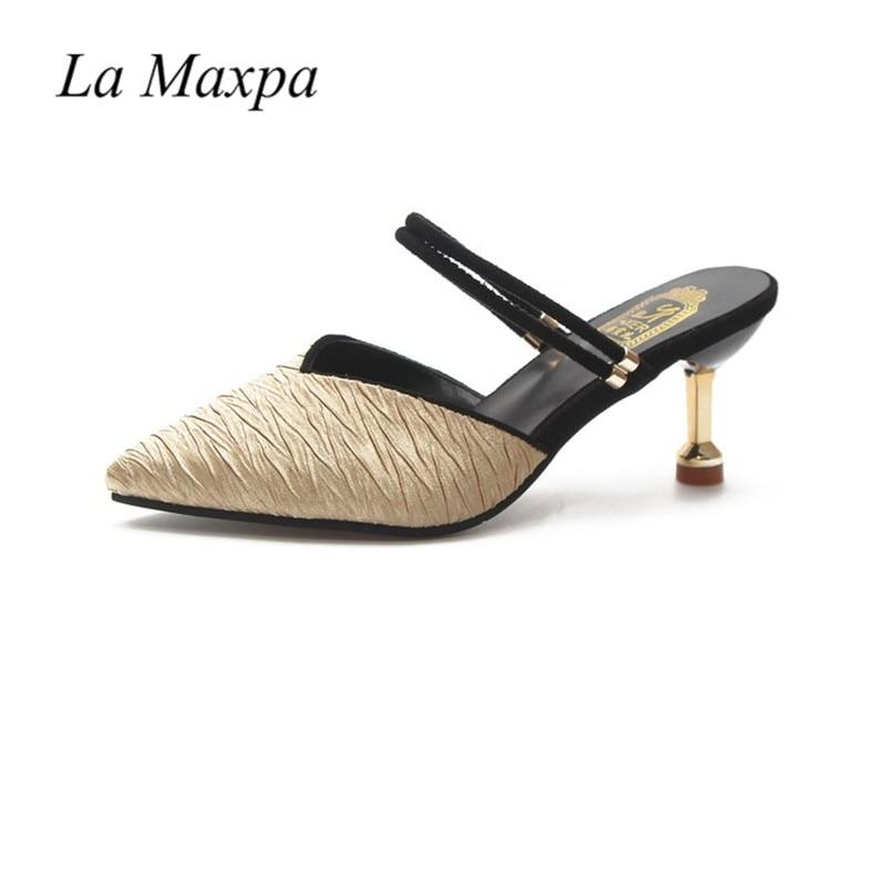 La Maxpa 2018 mode diapositives femme chaussures Designer marque bout pointu Mules dames sandales moyenne pointe 6.5 cm talon or chaussuresLa Maxpa 2018 mode diapositives femme chaussures Designer marque bout pointu Mules dames sandales moyenne pointe 6.5 cm talon or chaussures