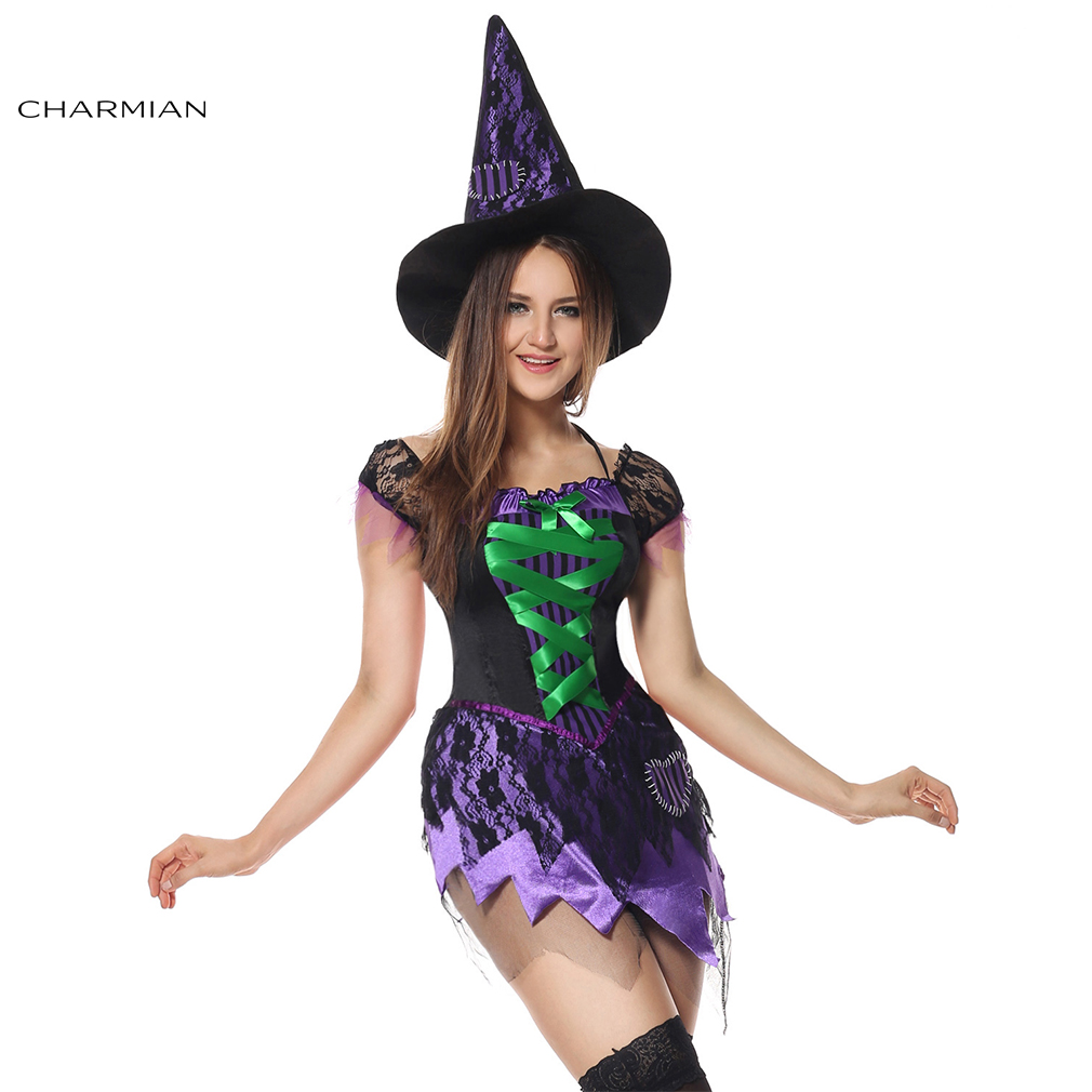 Charmian Sexy Witch Halloween Costume for Women Carnival Adult Witch Mini Dress Cosplay Costume Fancy Dress Clothing