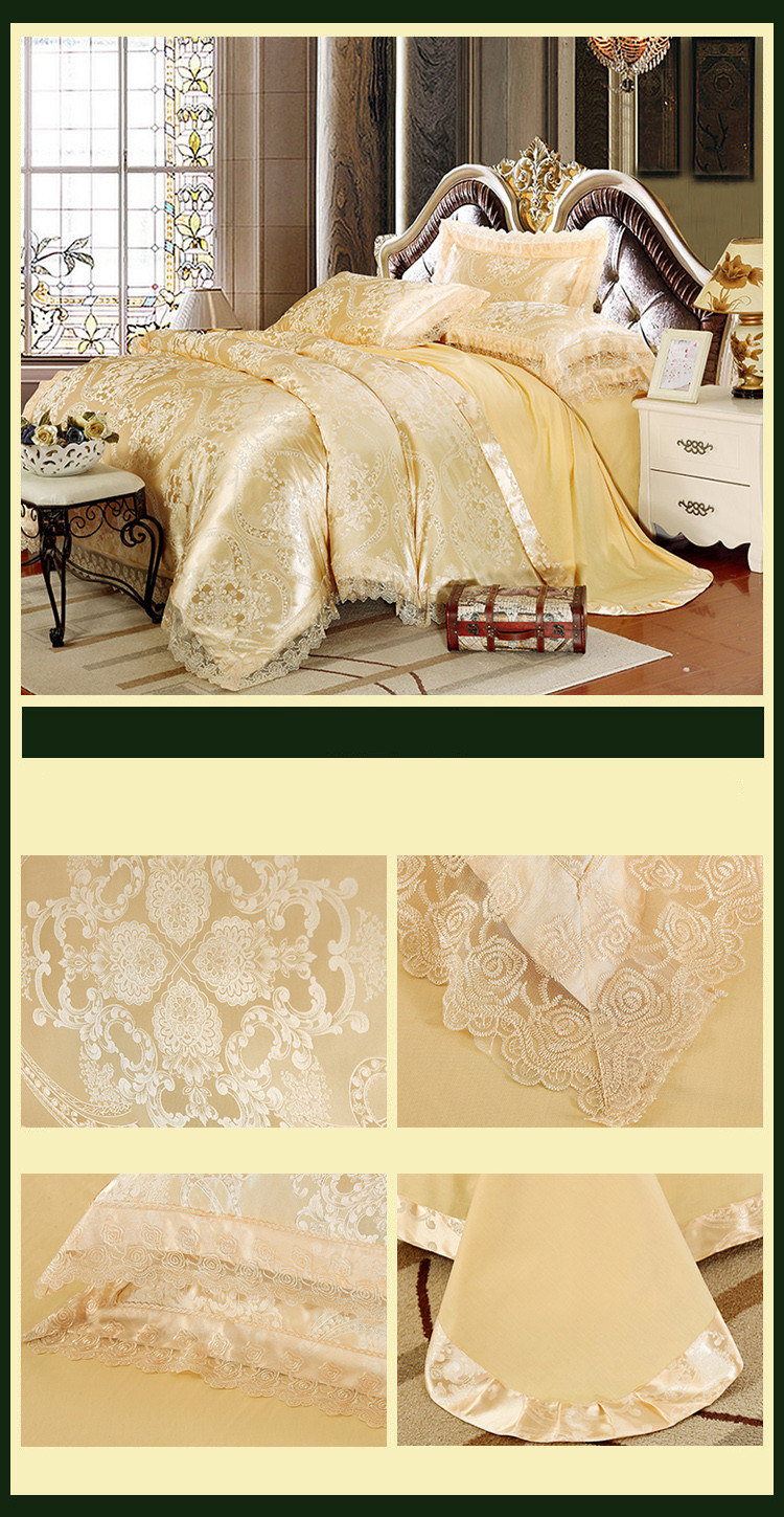 New Luxury Embroidery Tinsel Satin Silk Jacquard Bedding Set, Queen, King Size, 4pcs/6pcs 25