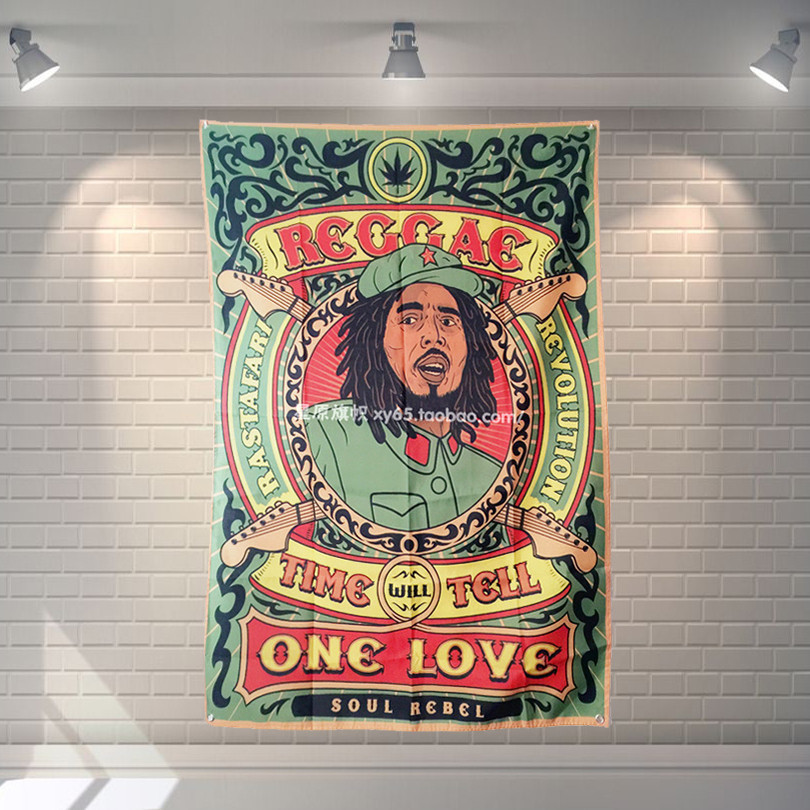 BOB Marley Rock Band Poster Banners Music Studio themed Restaurant Decor Hanging Art Waterproof Cloth Polyester Fabric Flags