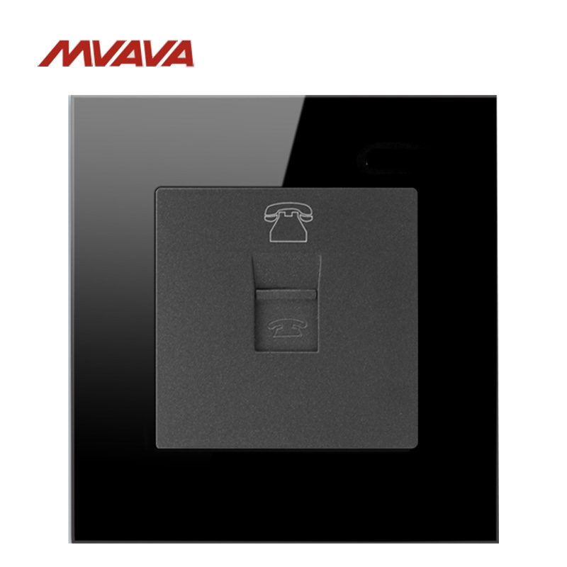 MVAVA RJ11 Universal TEL Telephone Jack Plug Port Wall Socket Receptale Luxucy Black Crystal Glass General-Purpose Free Shipping
