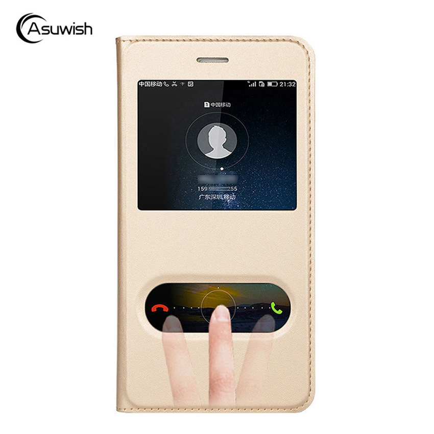 Asuwish Flip Cover Leather Case for Huawei Y5 2017 Y6 2017 Y 5 6 Y52017 Y62017