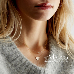 e-Manco Dainty Stainless Steel Necklace Women Multi Layer Choker Necklace Gold Color Pendants Necklace for women