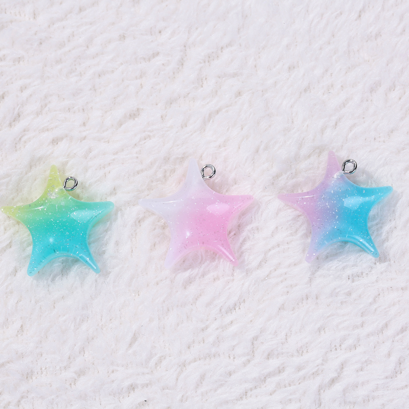 5pcs Sparkly Glitter Starfish Flatback Cabochons Embellishment Craft Charms