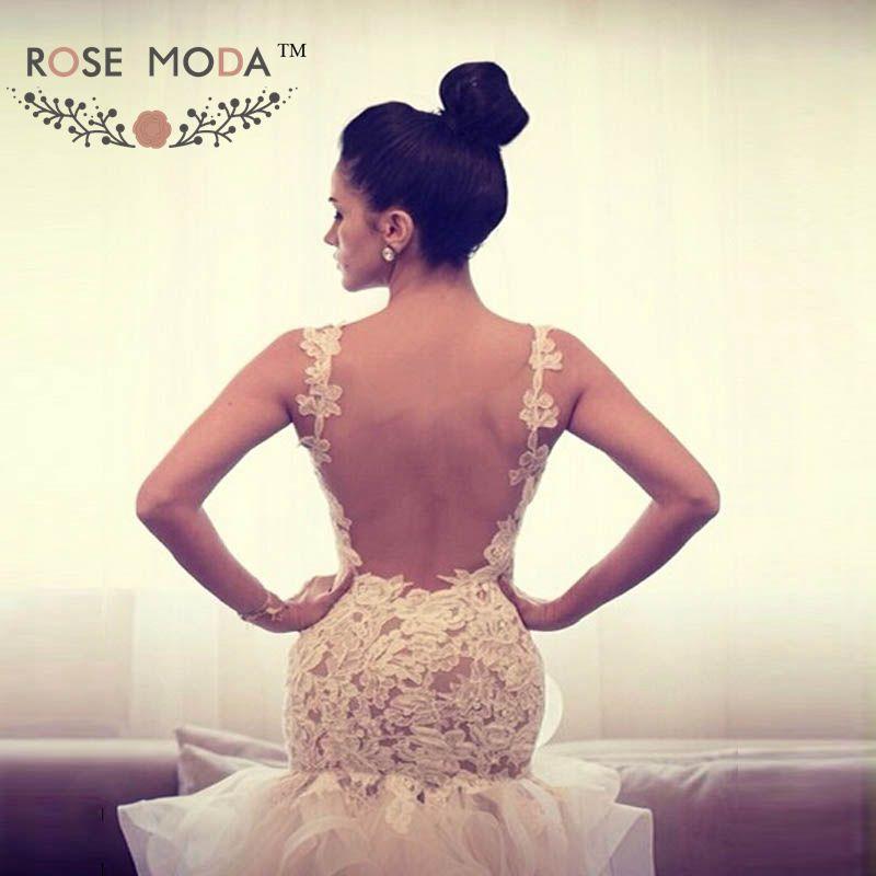 Moda de encaje sin espalda trompeta vestido de boda con raja del ...