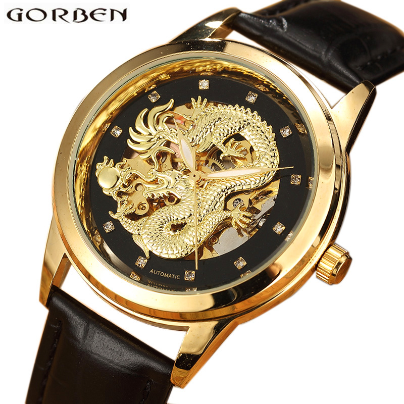 Gold Delicate Carved Dragon Automatic Skeleton Watch Men Black Leather Strap Chinese Mechanical Male Wrist Watch Luxury Luminous цена
