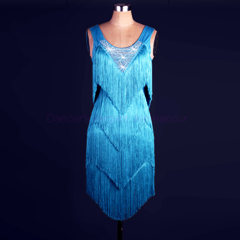 New Style Latin Dance Costume Spandex Tassel Stones Latin Dance Dress For Women Latin Dance Competition Dresses 2XS-6XL