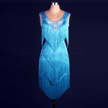 新スタイルのラテンダンス衣装スパンデックスタッセル石ラテン女性ラテンダンスの競技会ドレス2XS 6XL