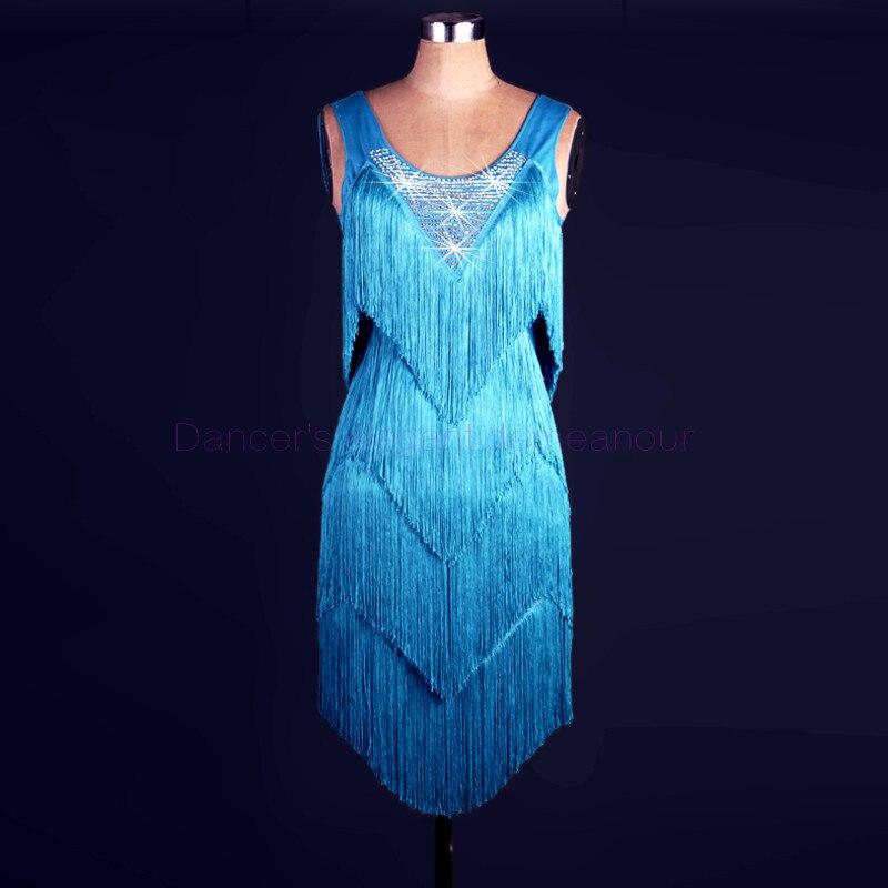 Nouveau style costume de danse latine spandex gland pierres robe de danse latine pour les femmes robes de compétition de danse latine 2XS-6XL
