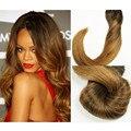 Stella Reina Cabelo Estilo Rihanna Balayage Ombre Grampo Em Extensões Do Cabelo 7 pcs Mocha Marrom #2/8 Remy Humano Brasileiro Cabelo liso