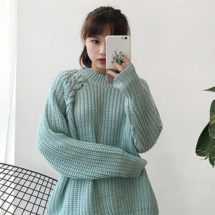 Contorto Verde Coreano Kawaii Grossa Allentato Spessore Solido fucsia bianco Maglia Carino A Le Lavoro Donne Retrò Raglan Maglione Di Colore Pullover Per pfdxq0I