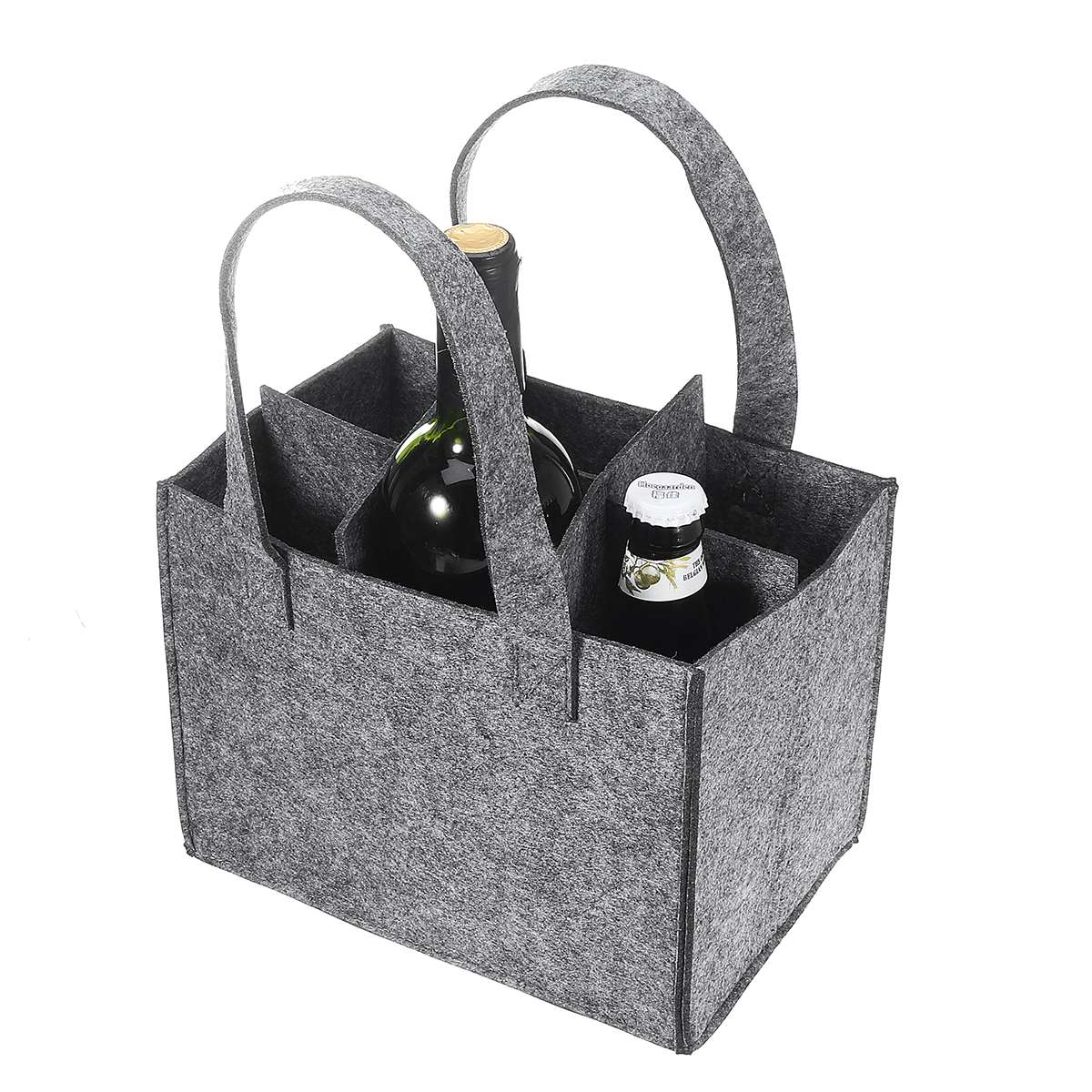 Reusable Fashion Felt Bag Wine Holder Beer Bottle Shopping Tote Bag Bottle Carrier with 6 Bottles Divider Washable Grey