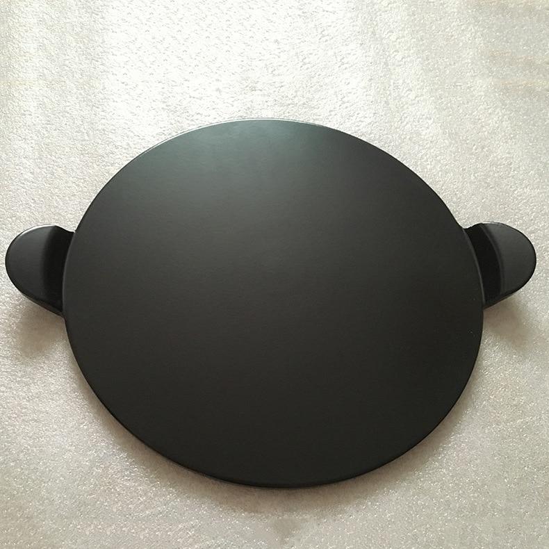 Alta qualidade preto esmalte pizza placa redonda refratário cerâmica isolamento placa de pedra pedras pizza pizza pan bakeware pizza ferramentas - 2