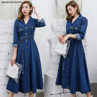 Women Long Autumn Dresses 2018 Korean Fashion Tailored Collar Long Denim Dress A line Single Breasted Midi Jeans Dress Tunic