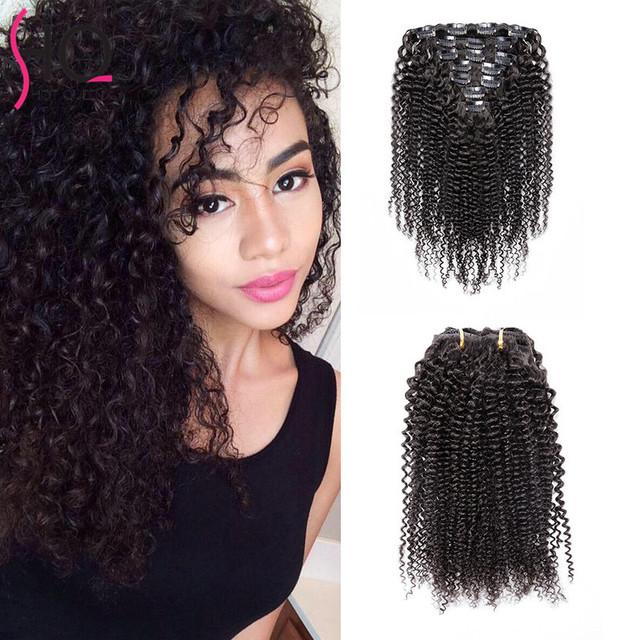 En Stock Afroamericano Afro Rizado Clip en la Extensión del pelo Remy Brasileño de la Virgen Del Pelo Clip en la Extensión de la Armadura BY141