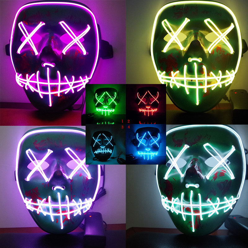 Dropshipping EL Wire Mask Light Up Neon Skull LED Mask For Halloween Party 2018 Theme Cosplay Masks US Free Shipping H1