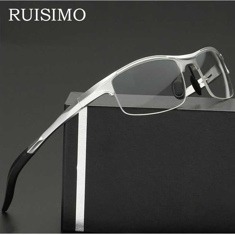 Aluminum Men Eyeglasses Fashion Myopia Optical Computer Glasses Frame Brand Design Plain Eye glasses retro de grau femininos