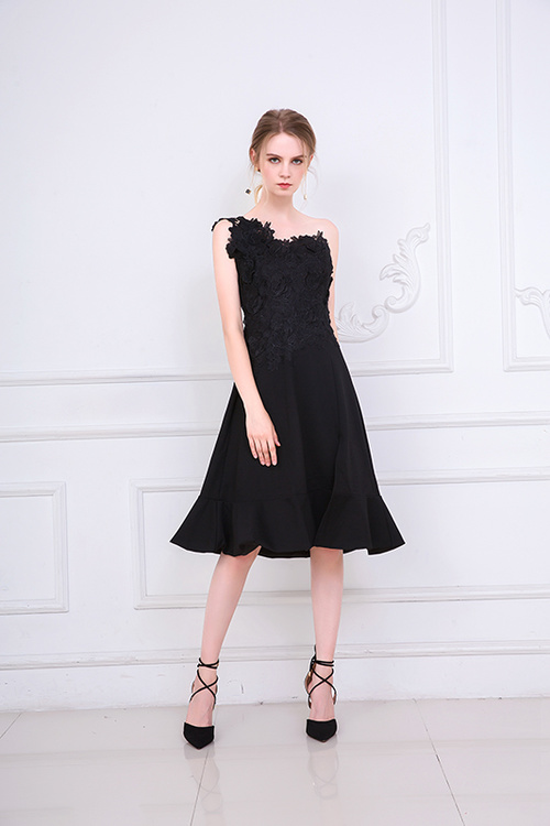 Embroidery Black Color Midi Dress Bridemaid Women Wedding Party