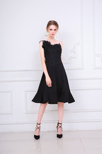 Embroidery Black Color Midi Dress Bridemaid Women Wedding Party