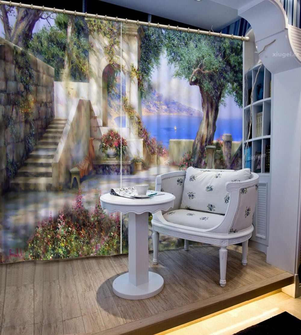 rideau occultant 3b rideaux de paysage fantaisie pour chambre a coucher rideau de fenetre pour salon decoration de fenetre style europeen