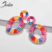 JOOLIM Jewelry Wholesale Handmade Colorful White Raffie Knitted Statement Earring Summer