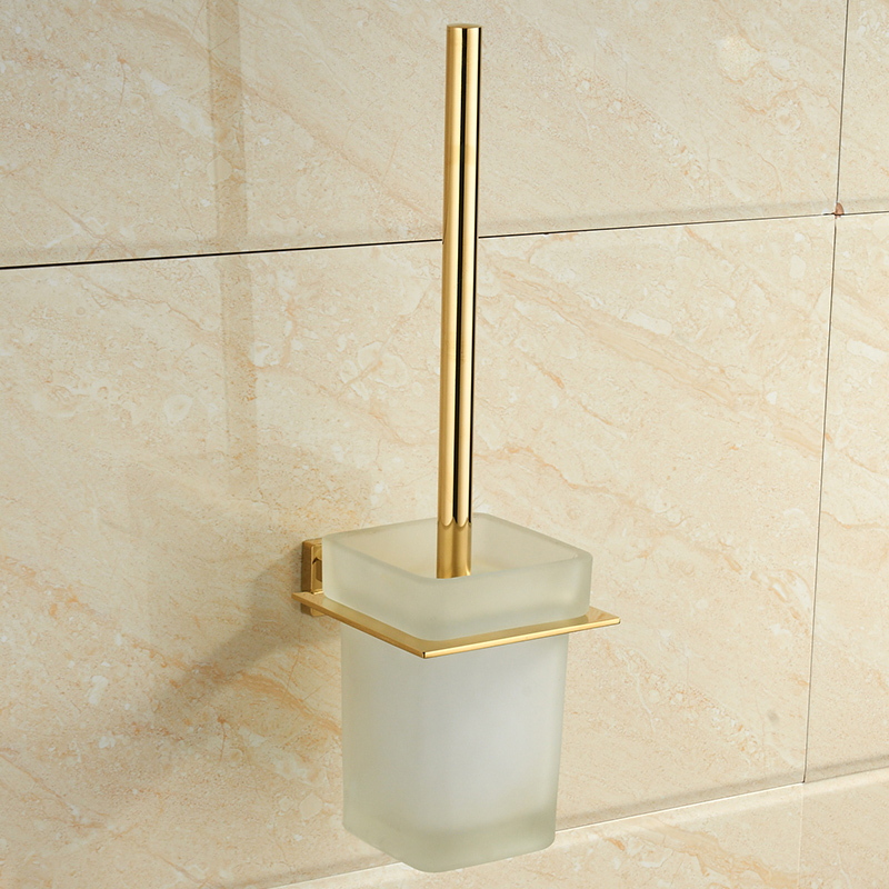 Modern 304 Stainless Steel Toilet Brush Holder Zirconium Gold Polished Toilet Brush Shelf Mounting Bathroom Hardware Sets V038 цена