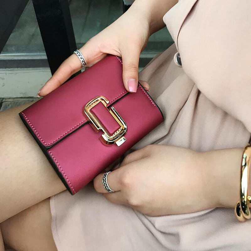 New Women's Short Wallet Women Short Wallet Fashion Tide Simple Lock Buckle Decoration Matte(China)