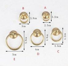 Gold Brass Ring Pulls Dresser Knobs Drawer Drop Pull Handles Knob Pure Copper Kitchen Cabinet Handle Cupboard