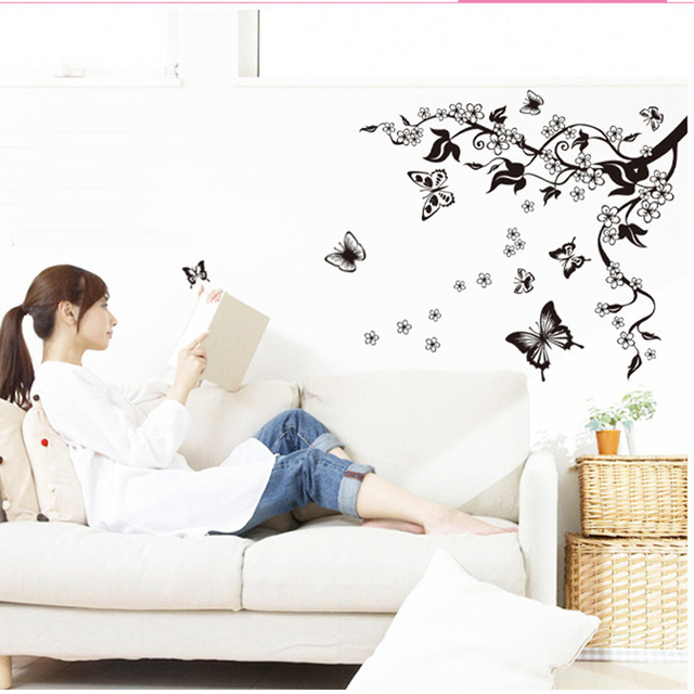 Fashion Romantic Flower Wall Sticker Art Decal background decoration Wall Stickers Home Decor butterfly 3D Wallpaper on the wall 4