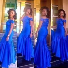 Sexy Schulterfrei Royal Blue Kurzarm Spitze Mermaid Kleid lange Abendkleid 2016 Abendkleider Elegante Kleid