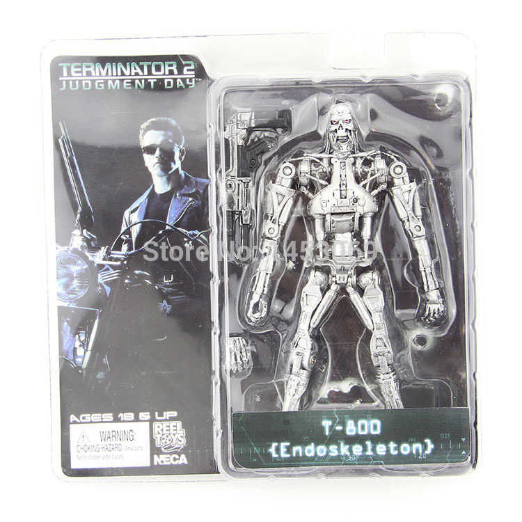 Free Shipping NECA Terminator 2 Judgment Day T-800 Endoskeleton PVC Action Figure Robot Toys 7 18CM Model Toy #ZJZ003 gmasking terminator 2 t800 endoskeleton skull head statue scale 1 2 replica