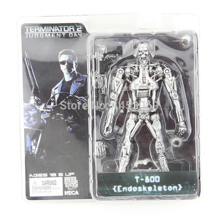"""Frete grátis neca terminator 2 julgamento dia T-800 endoesqueleto pvc figura de ação robô brinquedos 7 """"18 cm modelo brinquedo # zjz003"""