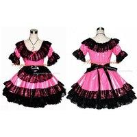 Livraison Gratuite Sexy Soubrette Pvc Chaude Rose Robe Uniforme Cosplay Costume Sur Mesure