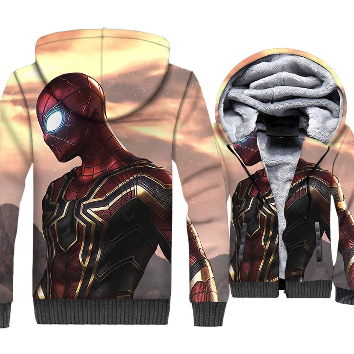 Spiderman Hoodies Men 3D Super Hero Jackets Cool Sweatshirt New Winter Thick Fleece Warm Zipper Coat Harajuku Hipster Streetwear